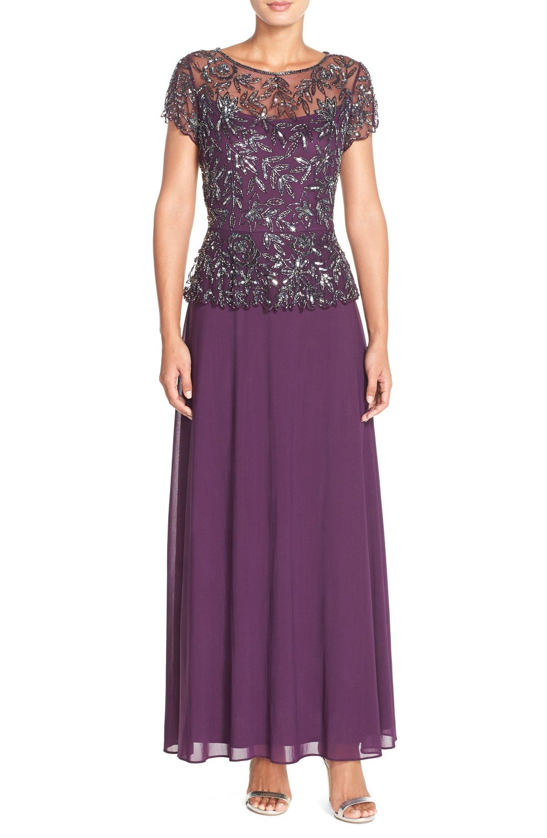 ee5007e4ddf Nordstrom  208 -- Pisarro Nights Beaded Mesh Mock Two-Piece Gown ...