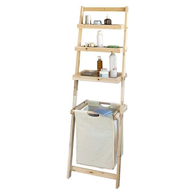 Sobuy Frg160 N Bathroom Storage Shelf Ladder Shelf With 3 Storage Shelves 1 Removable Laundry Basket Amazon Co Uk Kitchen Home Dengan Gambar