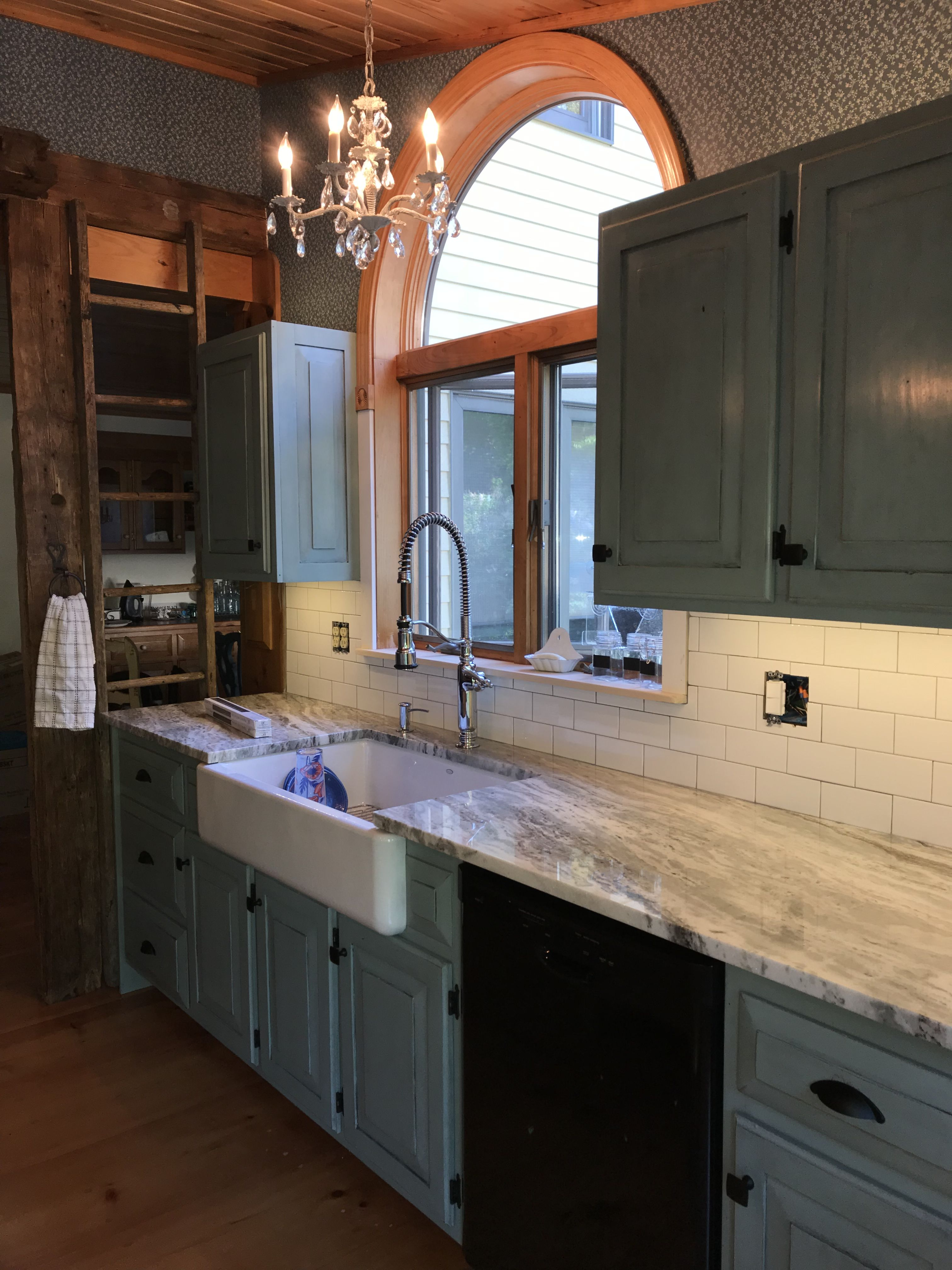 Chalk Painted kitchen cabinets Duck Egg Blue with Black ...