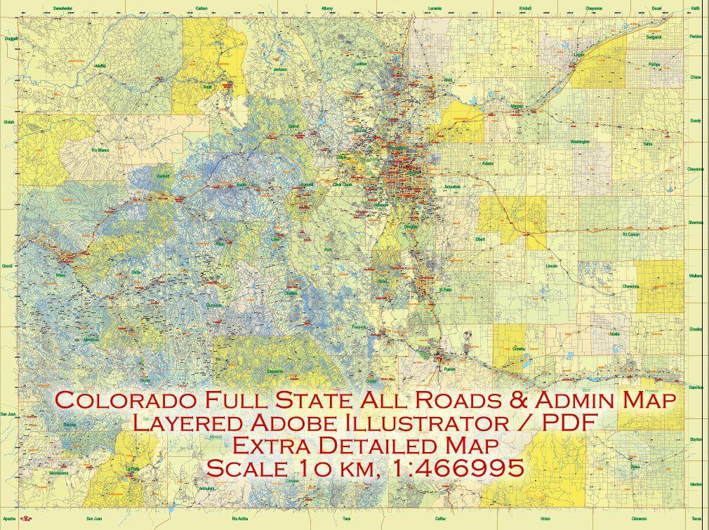 Map Colorado US PDF extra detailed, exact vector editable Map ...