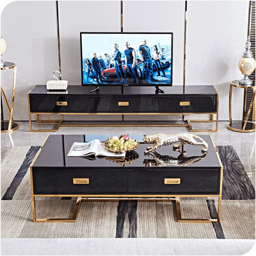 Elegant Black Tempered Glass Tv Stand 79 With Gold Electroplated Titanium Frame In 2021 Tv Stand Decor Living Room Centre Table Living Room Bar Set Furniture [ 900 x 900 Pixel ]