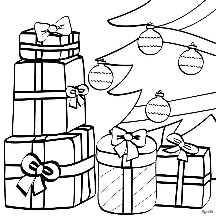 Christmas Tree Coloring Pages Wrapped Gifts And Xmas Tree