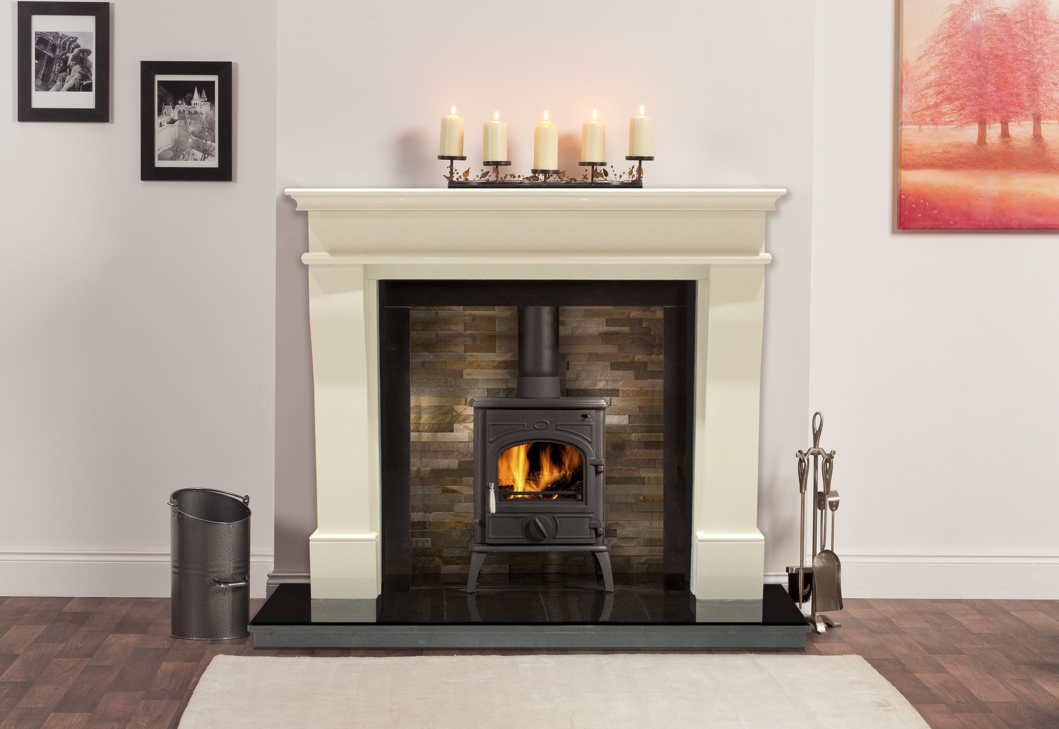 Take A Look At This Beautiful Durham Surround In Ivory Pearl With A San Remo Freestanding Stove Granite Slips Fireplace Option Freestanding Stove Home Trends