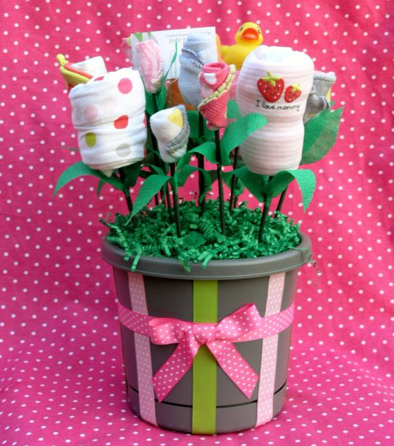 New Baby Gift Girls Flower Bouquet by babyblossomco on Etsy, $55.00