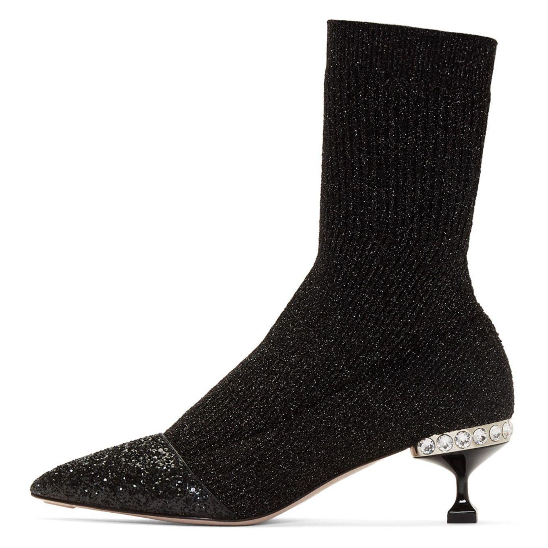 Nicekicks De Vente À Bas Prix Envoi Gratuit Envoi Bas Frais De Prix Miu Miu Black Glitter Sock Boots 5mtN3iho