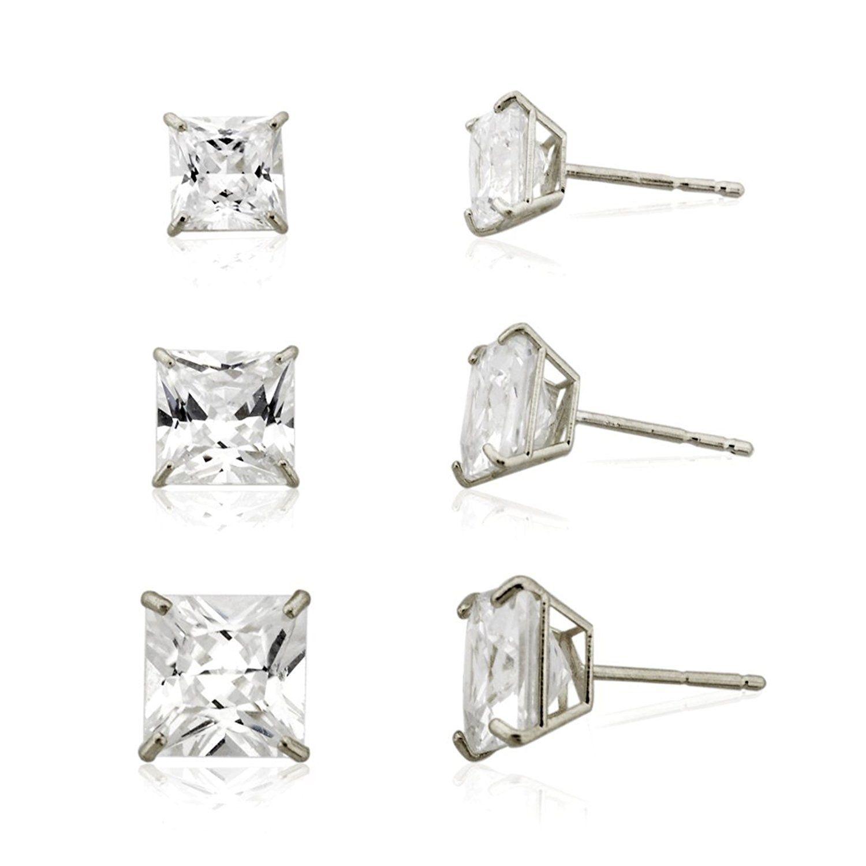 3 pair 10k White Princess Cut Cubic Zirconia Stud Earring Set 3mm