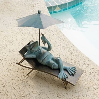 Lounging Frog Statue, This One Can Go By My Pool!