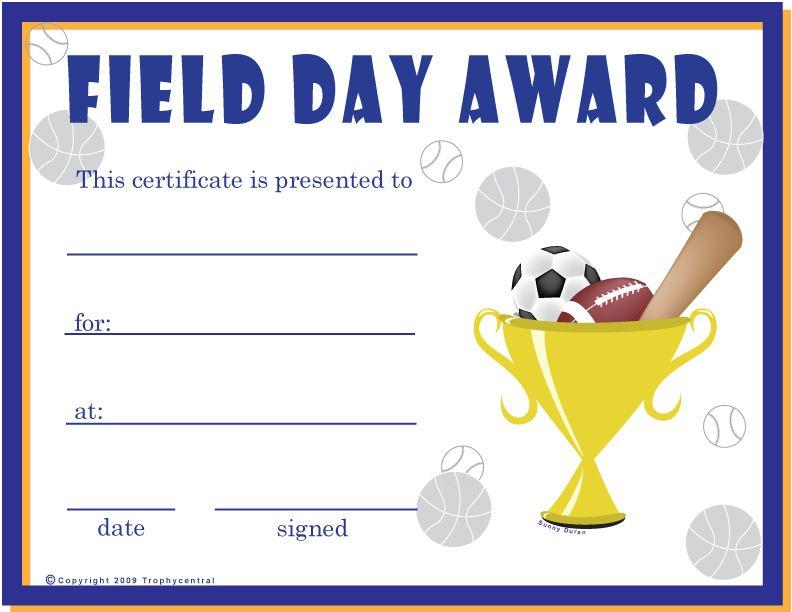 Free Field Day Certificates Certificate Free Field Day Sports Day Certificates Certificate Templates Field Day