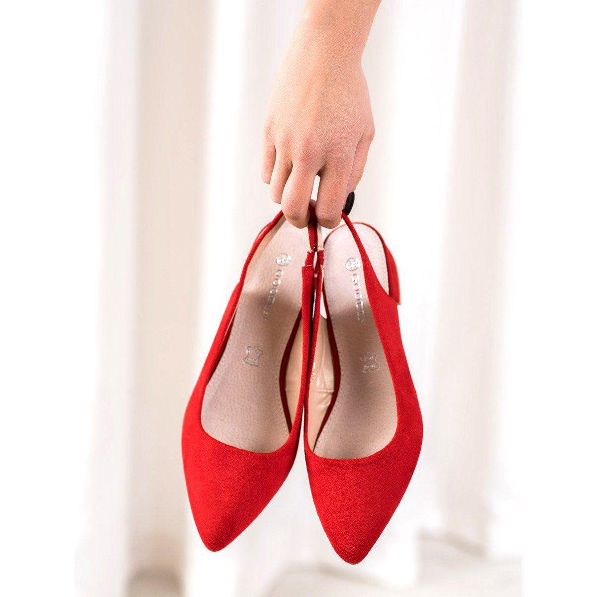 Goodin Czolenka Z Odkryta Pieta Czerwone Heels Shoes Fashion