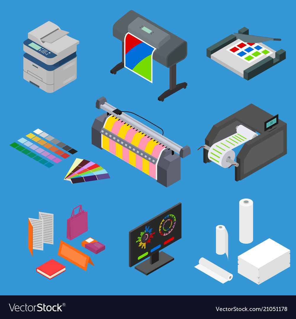Printing Signs 3d Icons Set Isometric View Include Of Paper