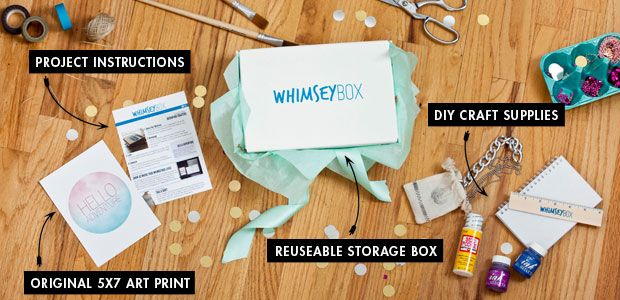 For just $15/month, they ship you DIY & craft supplies, project instructions & ideas, a collectable art print, and the WhimseyBox (which is reusable, by the way!) Click the pin to find out how to get it for only $10