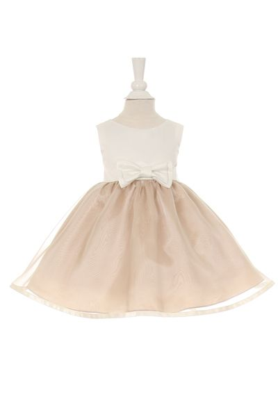 b27021cb596 This Ivory   Champagne Baby Flower Girl Dress is perfect for a wedding with  neutral or natural colors. This dress is the matching style to the same  dress ...