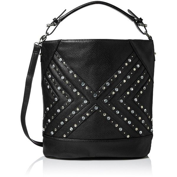 Dolce Girl Rhinestone Hobo Bucket Bag (€16) ❤ liked on Polyvore featuring bags, handbags, shoulder bags, bucket handbag, bucket purse, hobo shoulder handbags, hobo purse and rhinestone purses
