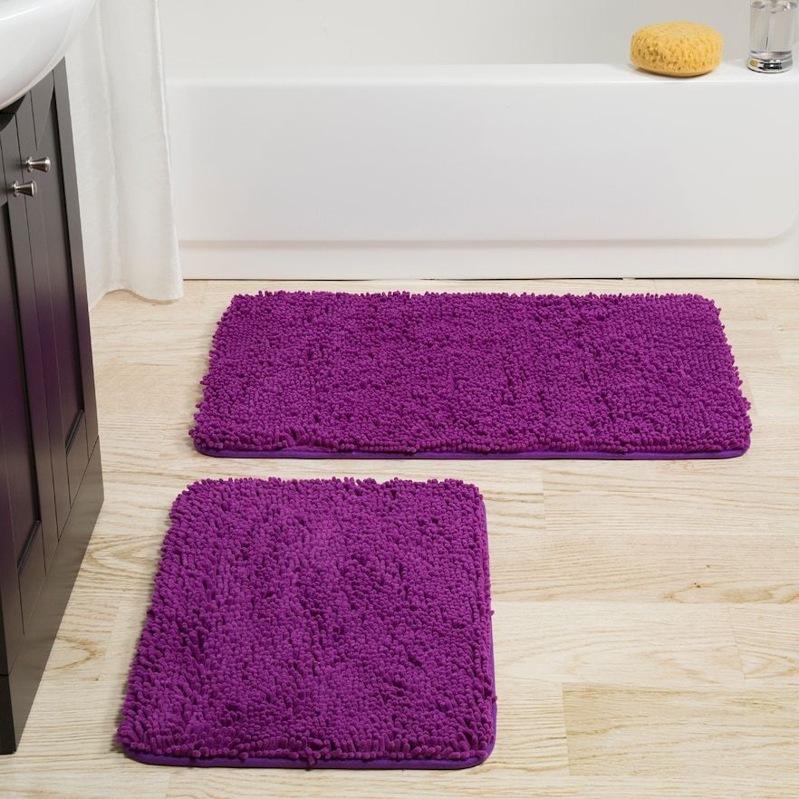 Portsmouth Home 2 Piece Memory Foam Shag Bath Mat Bath Mat Sets