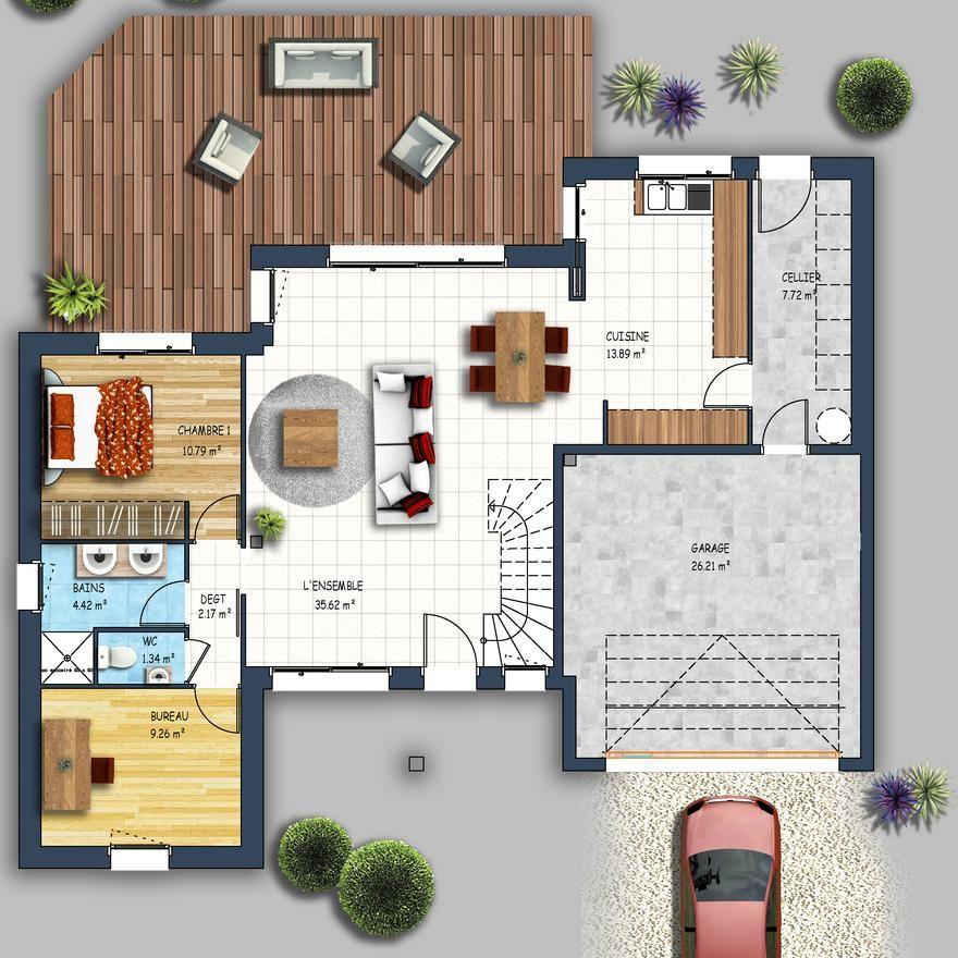 Découvrez cette Maison traditionnelle à étage Les Sorinières - plan maison etage m