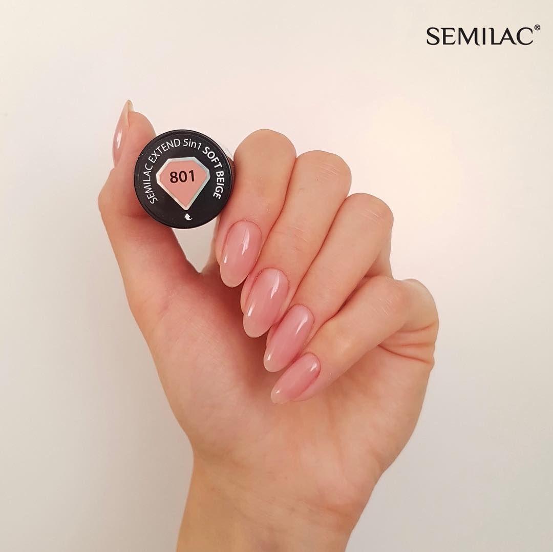 Semilac Extend 5in1 Soft Beige 801 Innowacyjny Lakier Hybrydowy Semilac Ktory Zawiera W Sobie 5 Najbardziej Pozadany Manicure Nail Polish Colors Nail Colors