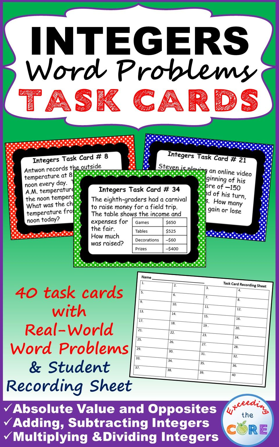 Integers Word Problems 40 Task Cards With Skills Practice And Real World Word Problems Topics Integers Word Problems Word Problems Word Problems Task Cards Adding and subtracting integers word
