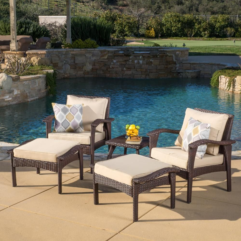 Noble House Honolulu Brown 5 Piece Wicker Patio Conversation Set