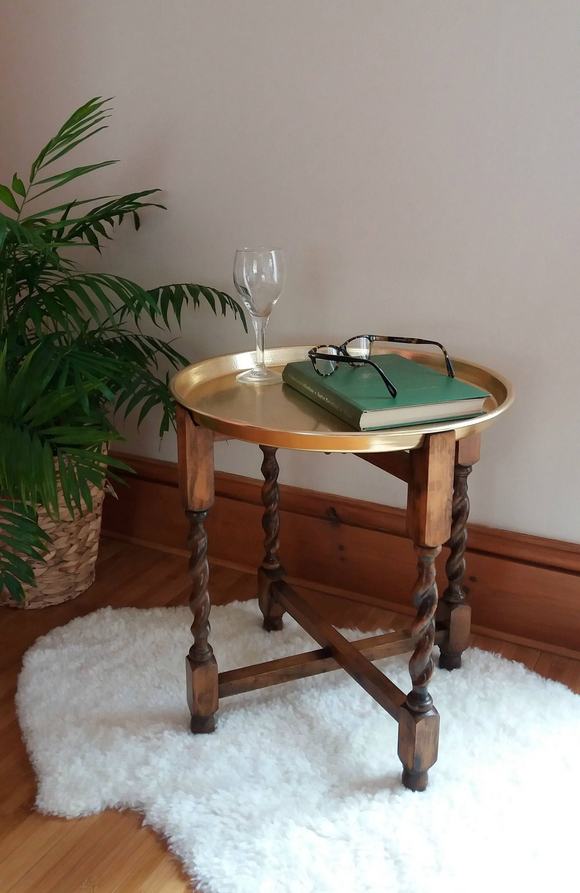 Vintage Folding Side Table Oak With Tray Small Antique