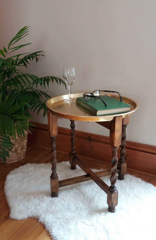 Vintage Folding Side Table Oak Side Table Folding Table With