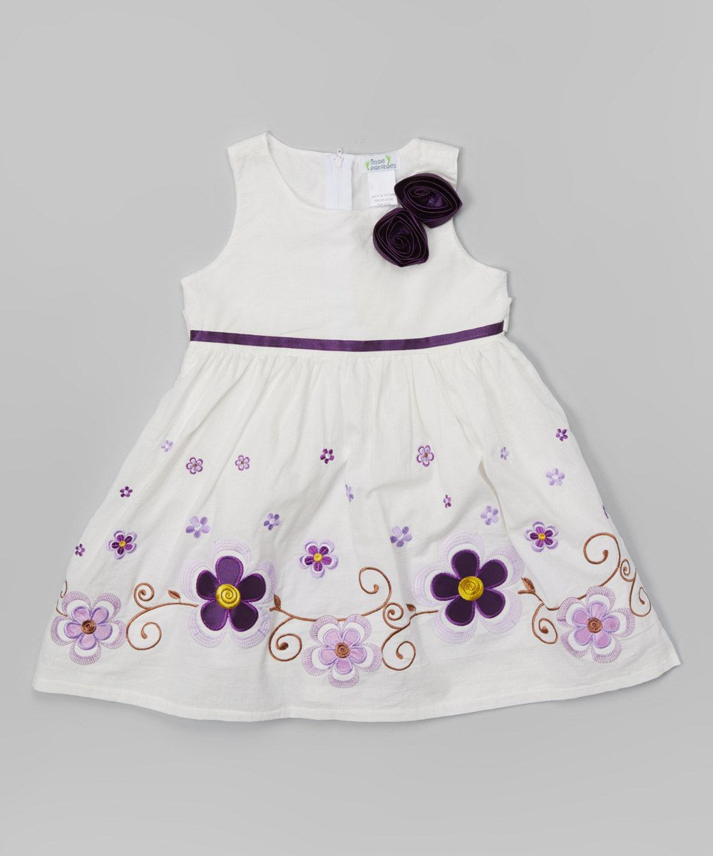 95998401f378 White   Purple Flower Dress - Toddler   Girls