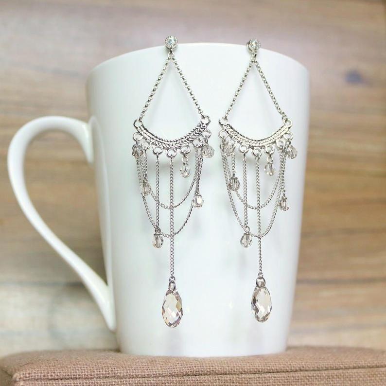 Swarovski crystal and Chain Chandelier earrings Dangle & Drop | Etsy