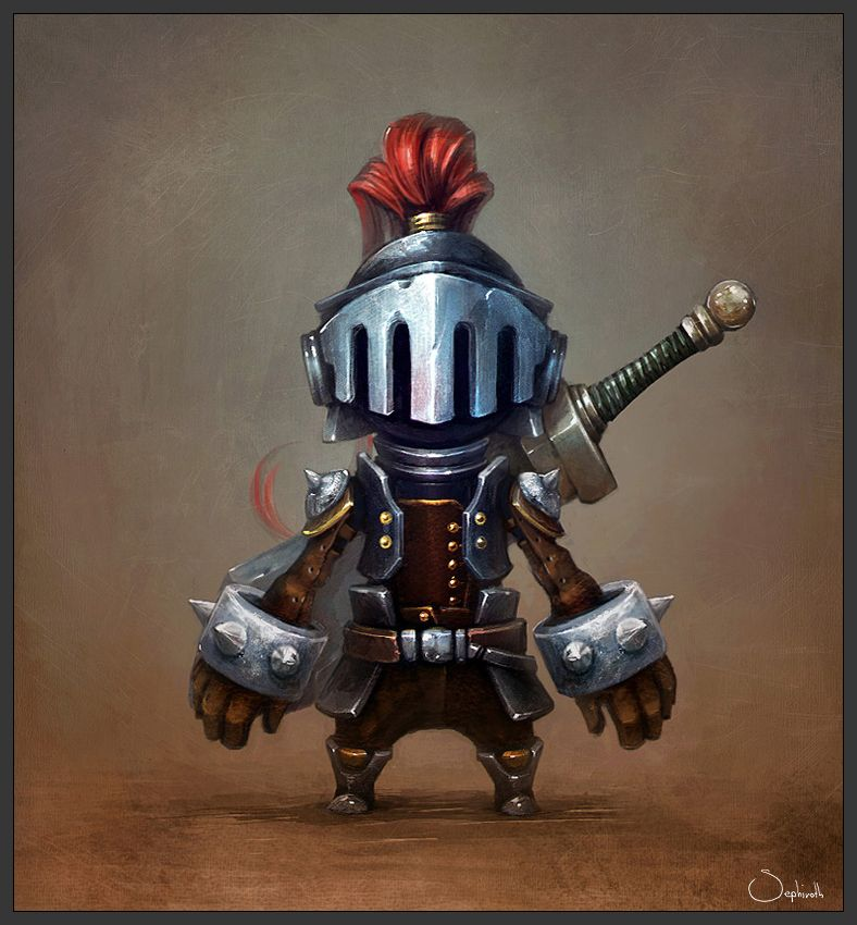 "He never was seen without his armor lest he suffer again the humiliation of being called ""cute""."