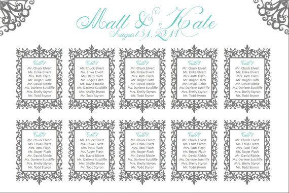 Scroll Wedding Seating Chart Printable Custom by PrintMyWedding - printable seating charts