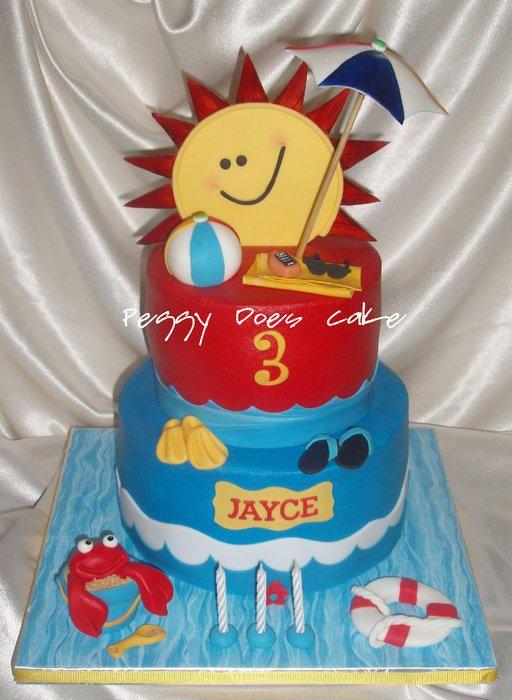 Jayce S Splish Splash Cake With Images Pool Party Cakes Beach