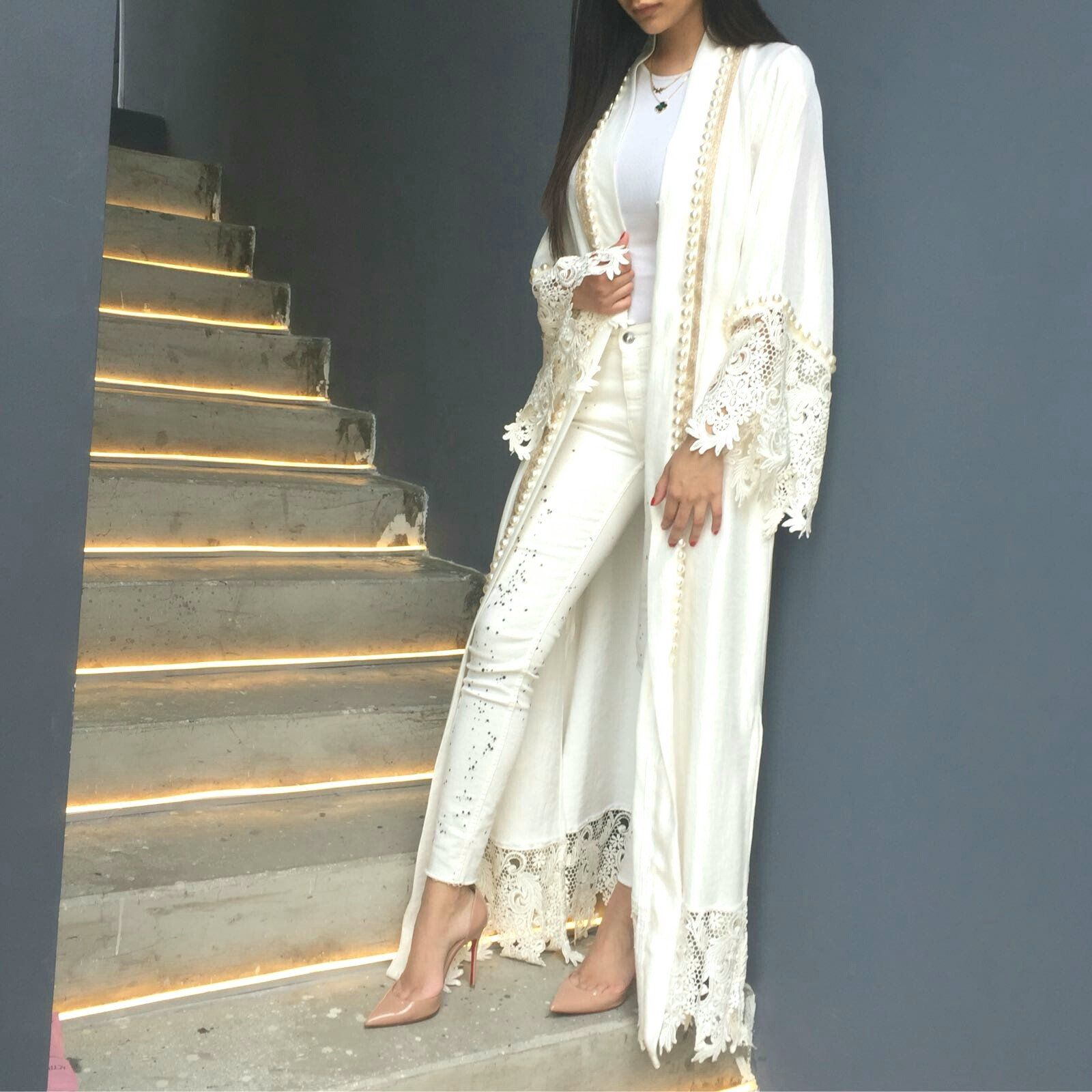 Silver pearl marisol white lace 1 - Limited Edition White Silk Mix Abaya With French Lace Pearls
