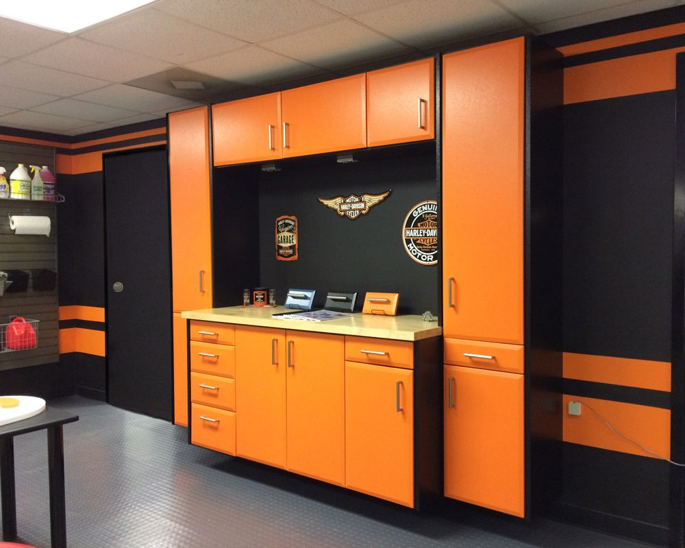 Create Your Own Custom Garage With Cgc Cabinets From Closet City Harley Davidson Enthusiasts You Ll Love This Orange And Black Combo