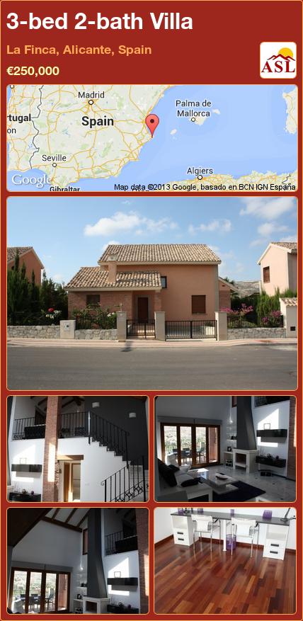 3-bed 2-bath Villa in La Finca, Alicante, Spain ►€250,000 #PropertyForSaleInSpain