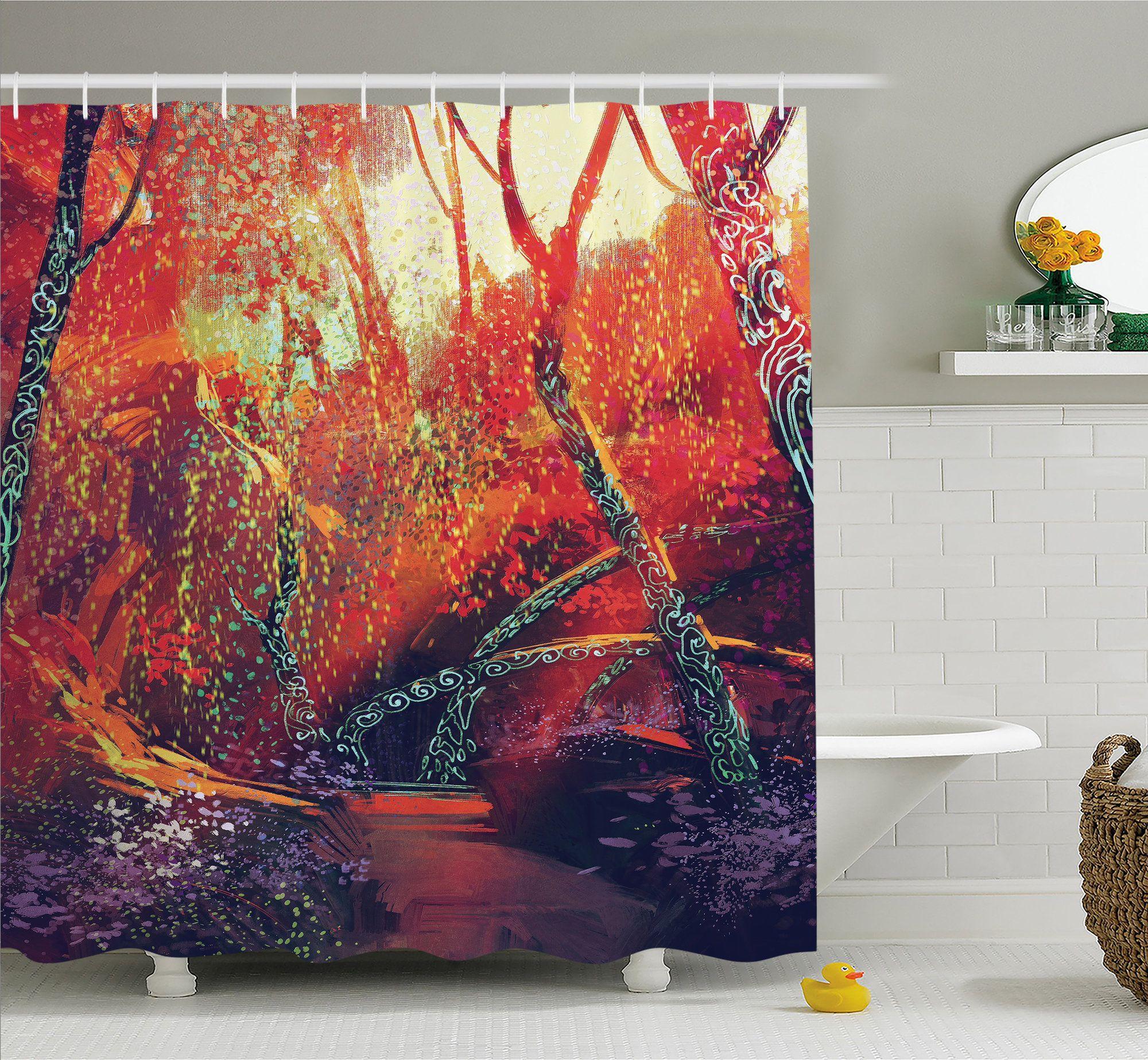 Fantasy Art House Fall Autumn Scenery In Habitat Fairy Tale Woodland Fiction View Shower Curtain Set