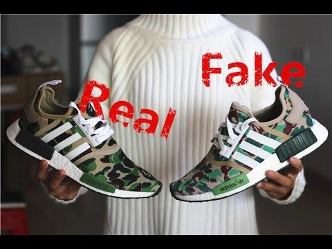 Comparison Review: Bape x Adidas NMD Camo Green --- Real vs. Fake