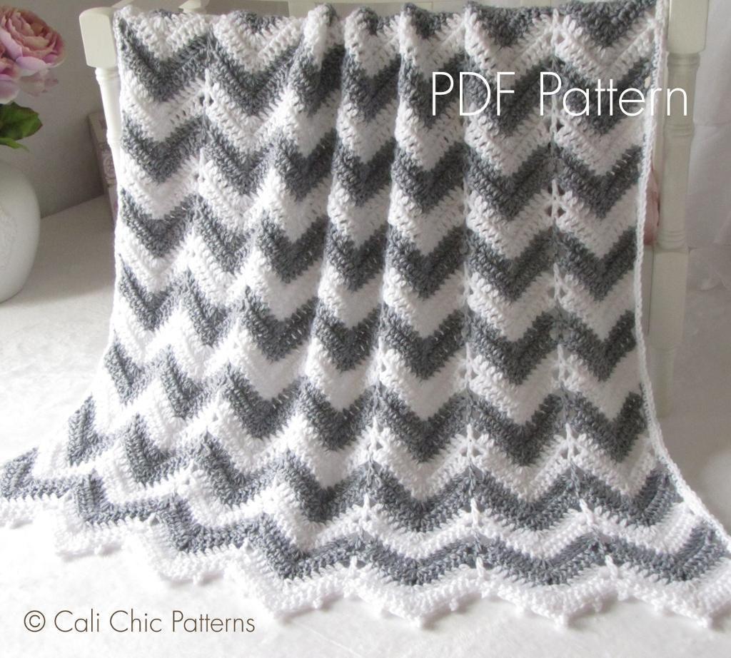 Chevron Crochet Baby Blanket #55 CCB