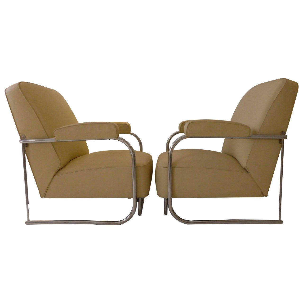 Pair of French Modernist Lounge Chairs | From a unique collection of antique and modern lounge chairs at https://www.1stdibs.com/furniture/seating/lounge-chairs/