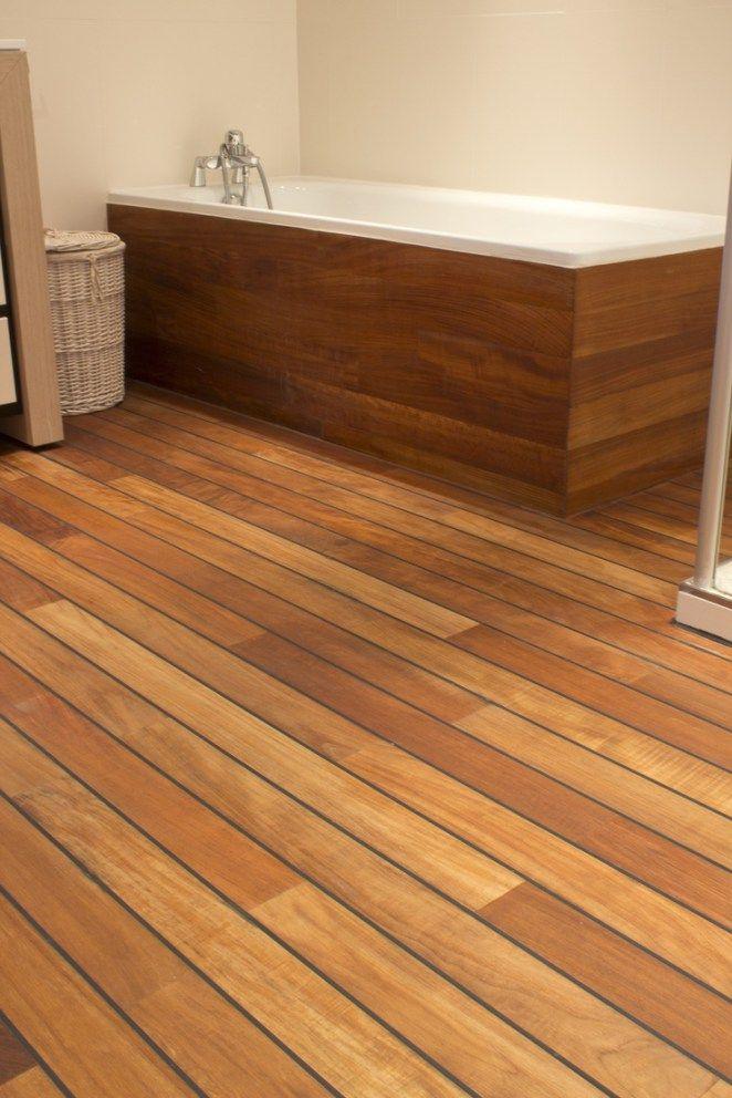 Idée décoration Salle de bain Le teck en joint pont de bateau donne - teck salle de bain sol