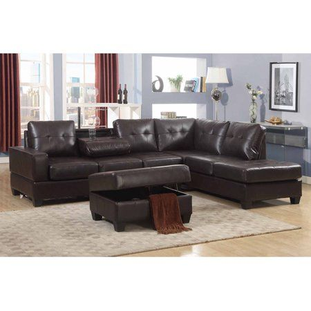 Peachy Emily 3 Pc Dark Brown Faux Leather Reversal Sectional Sofa Unemploymentrelief Wooden Chair Designs For Living Room Unemploymentrelieforg