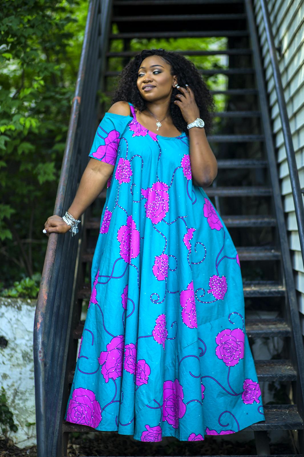 Plus size diy fashion ankara styles flared maxi dress blog looks
