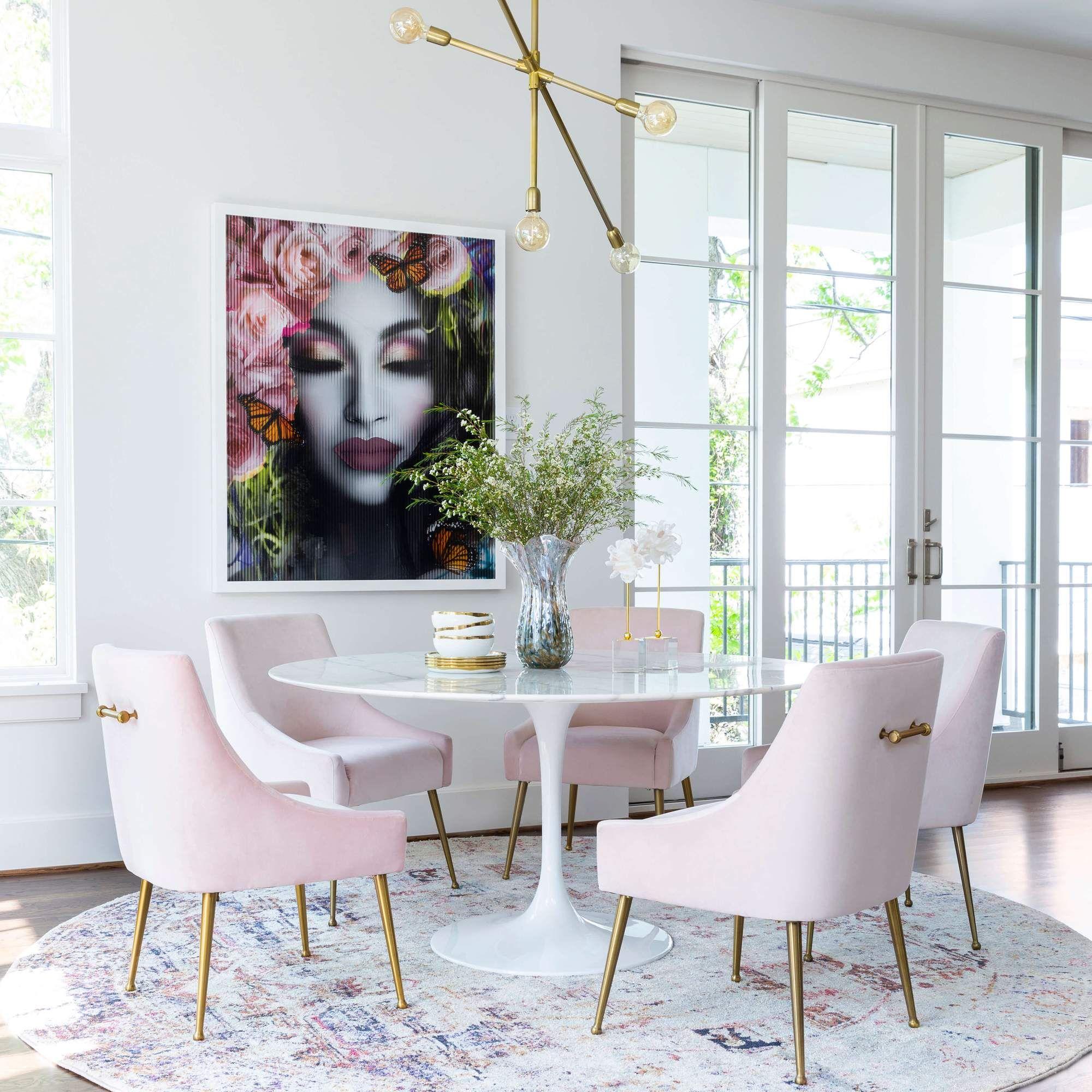 Beatrix Side Chair, Blush/Brushed Gold Base – High Fashion Home ...