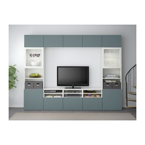 BESTÅ TV storage combination/glass doors - white/Valviken grey ...