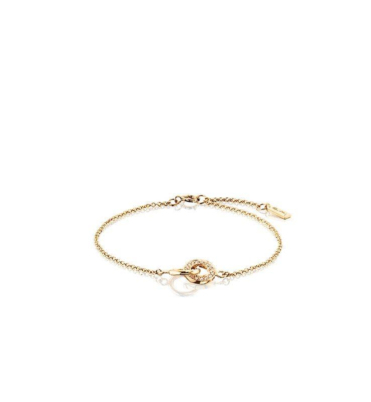 Armband i 18k guld med tv¥ sammanlänkade ringar En rundad ring