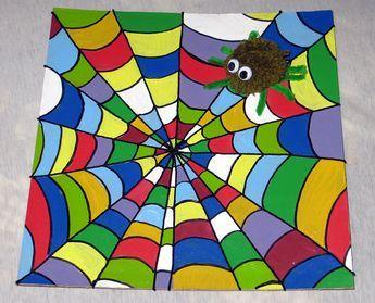 buntes spinnennetz basteln mit kindern tiere kunstunterricht malen kunst grundschule und. Black Bedroom Furniture Sets. Home Design Ideas