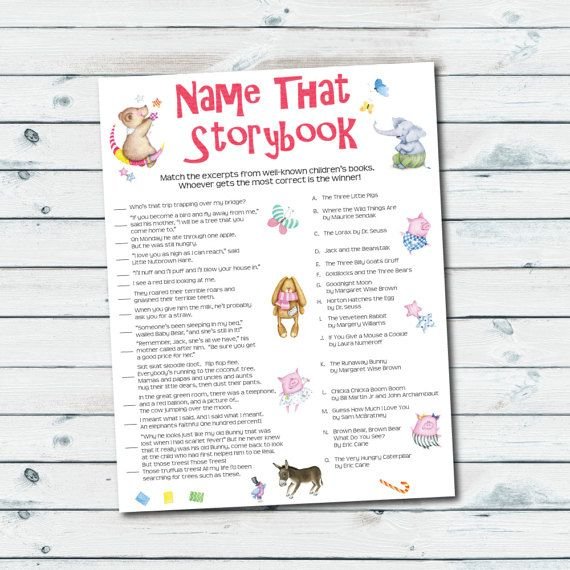 Storybook Baby Shower Games, Storybook Quiz Printable