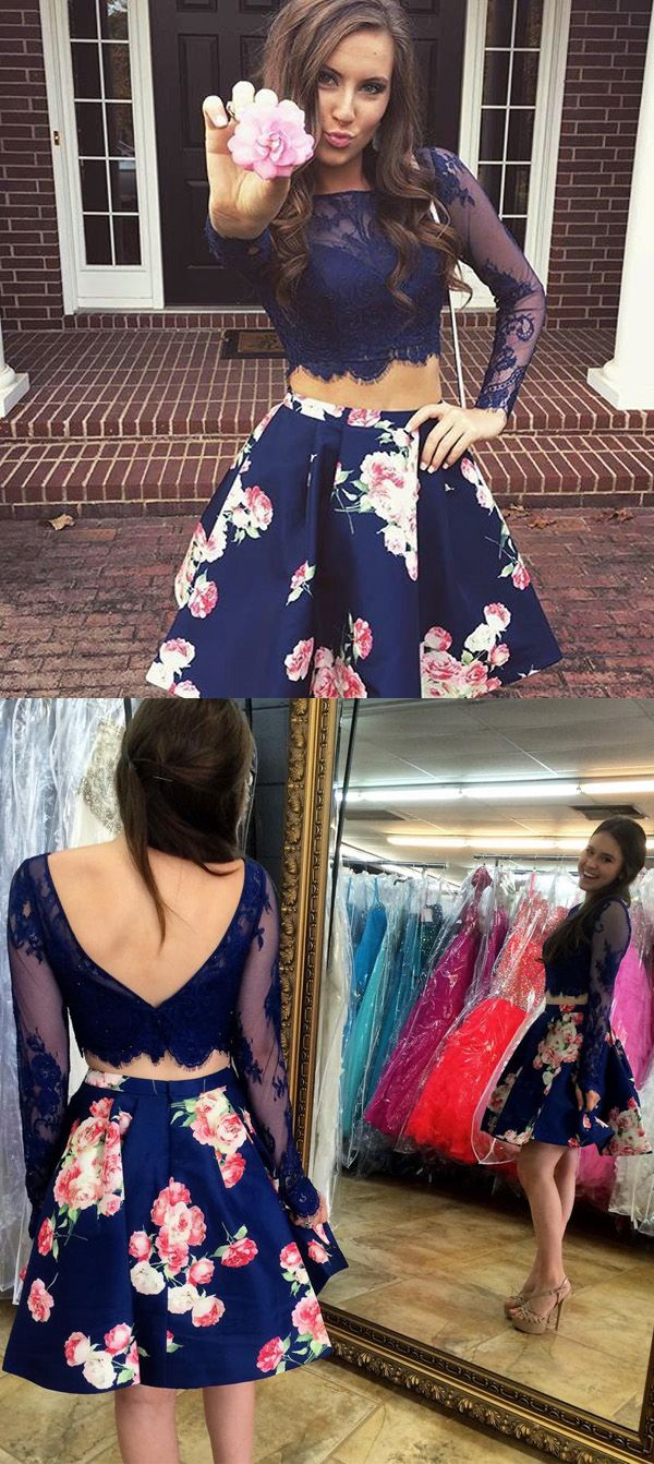 Cute two piece bateau long sleeves lace short blue floral homecoming