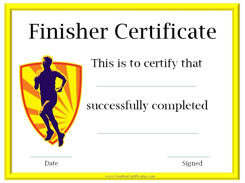 Run certificates certificate for completing the c25k program running certificate templates free customizable to award athletes for participating in race events or for those training for races yadclub Images