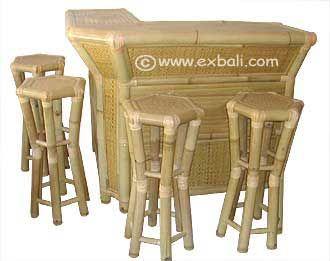 Bamboo Corner Bar With Stools