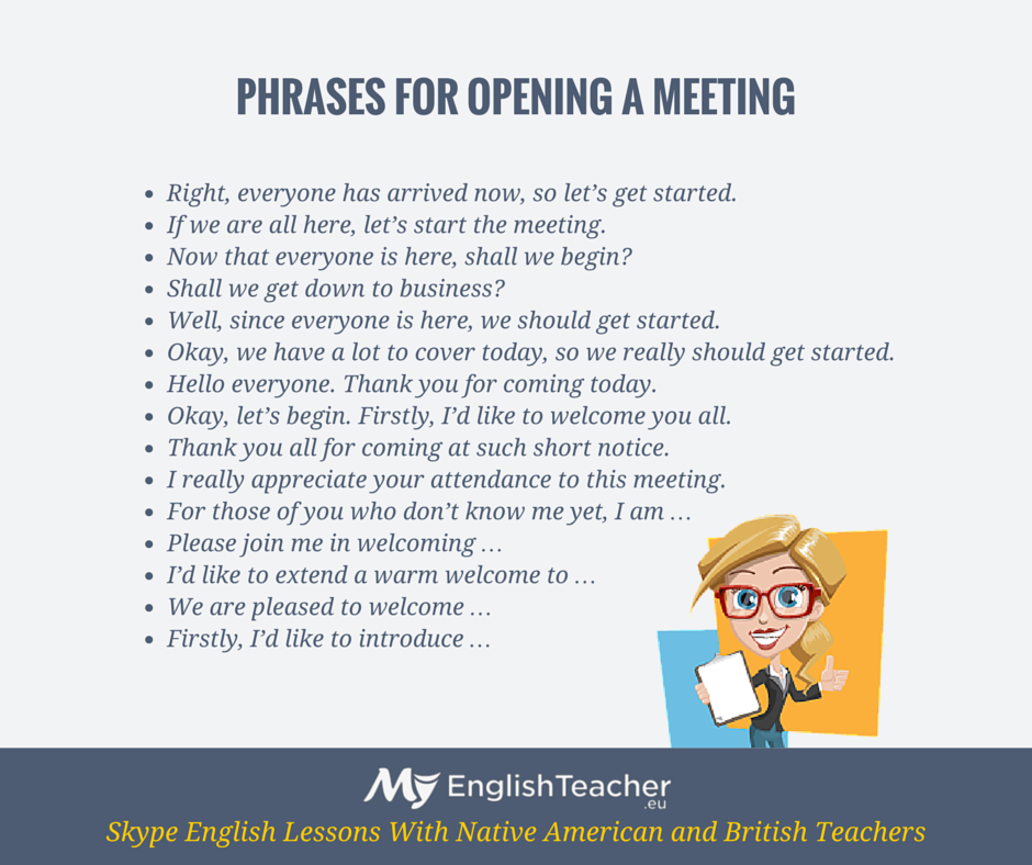 Words Language Grammar: Phrases For Opening A Meeting!