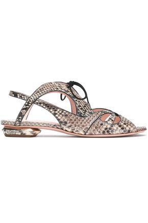 Clearance Visa Payment The Cheapest Sale Online Nicholas Kirkwood Woman Suede-trimmed Python Sandals Off-white Size 38 Nicholas Kirkwood Official Free Shipping Geniue Stockist PCzfzNb