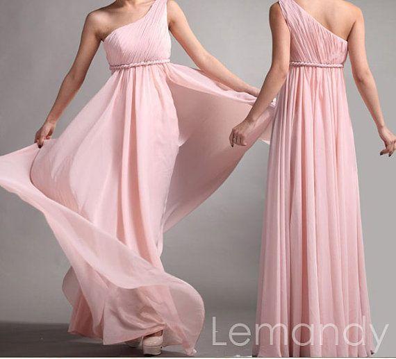 pink+one+strap+A+line+chiffon+bridesmaid+by+Lemandyweddingdress,+$138.00